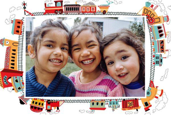 carte 1 photo avec train pour enfant