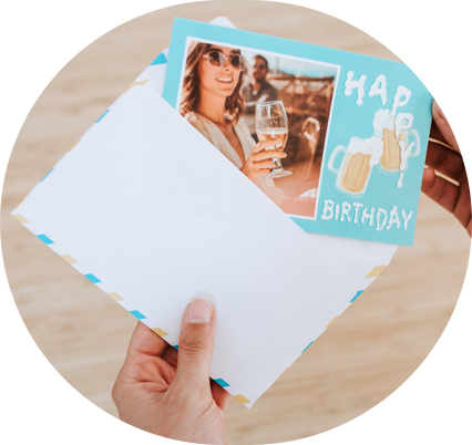happy beersday card with an envelope