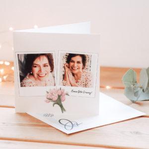 carte pour fete des grands-meres rose avec bouquet de fleurs
