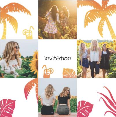 invitations coucher de soleil et palmiers