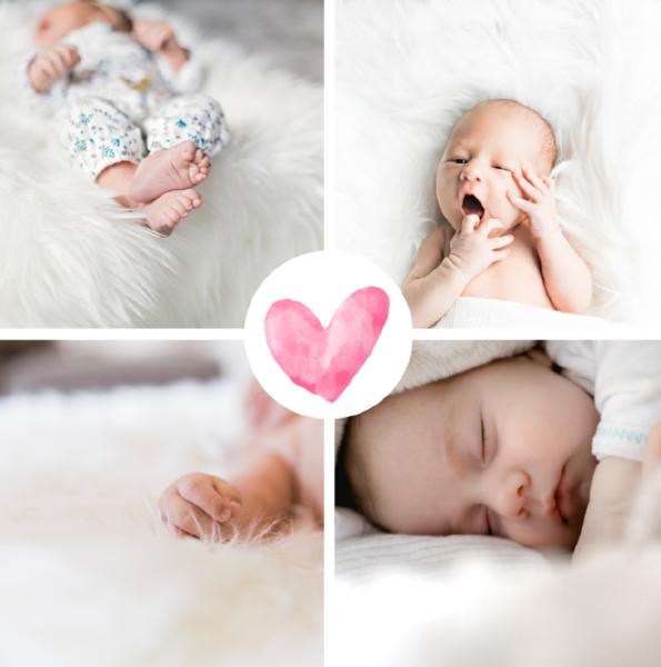 Carte naissance quatre photos avec coeur rose