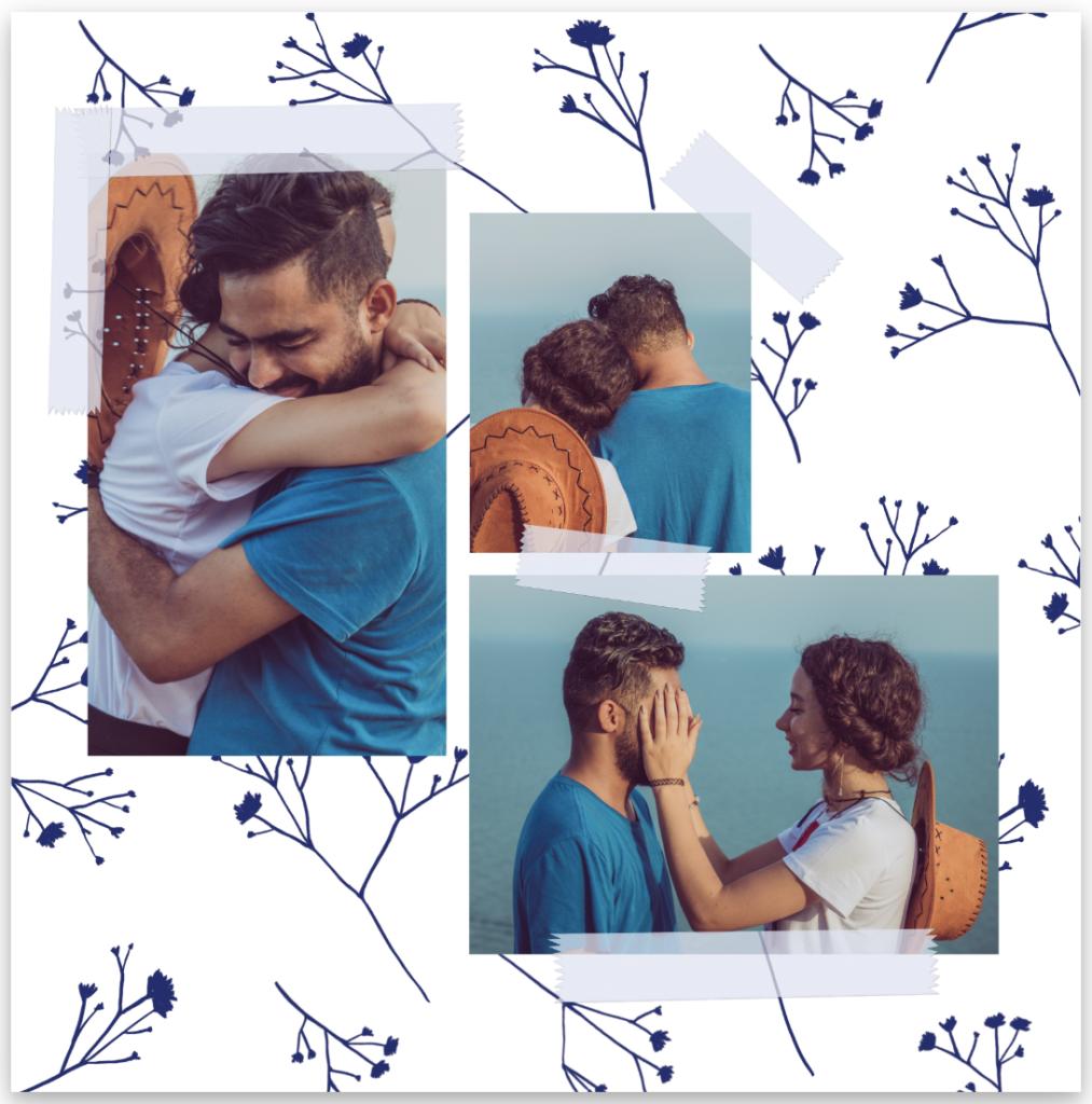 faire-part de mariage fleurs bleues