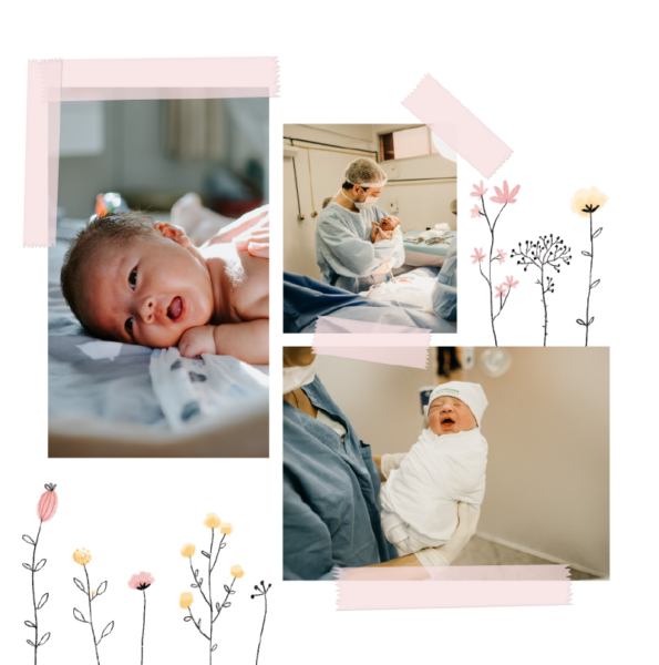 faire-part naissance fille trois photos fleurs des champs