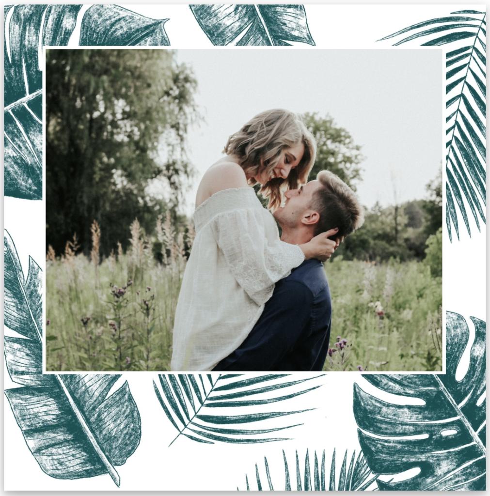 faire-part de mariage feuilles jungle