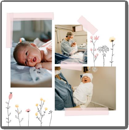 faire-part bébé naissance fleurs