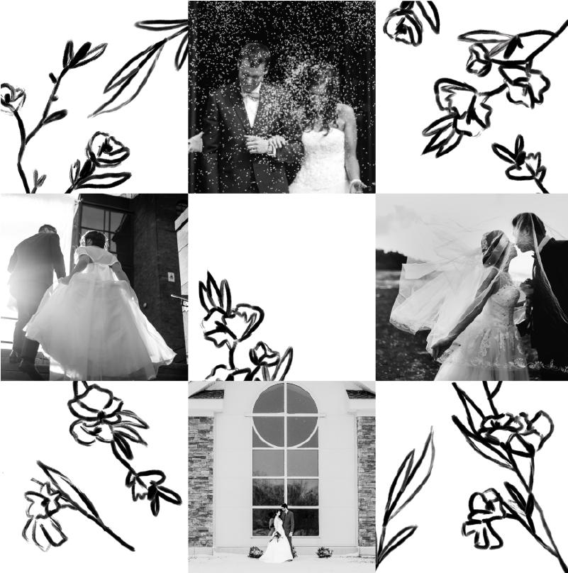 carte quatre photos noir et blanc roses