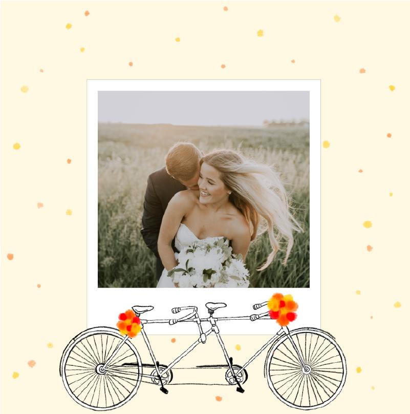 faire-part mariage vintage jaune avec velo biplace