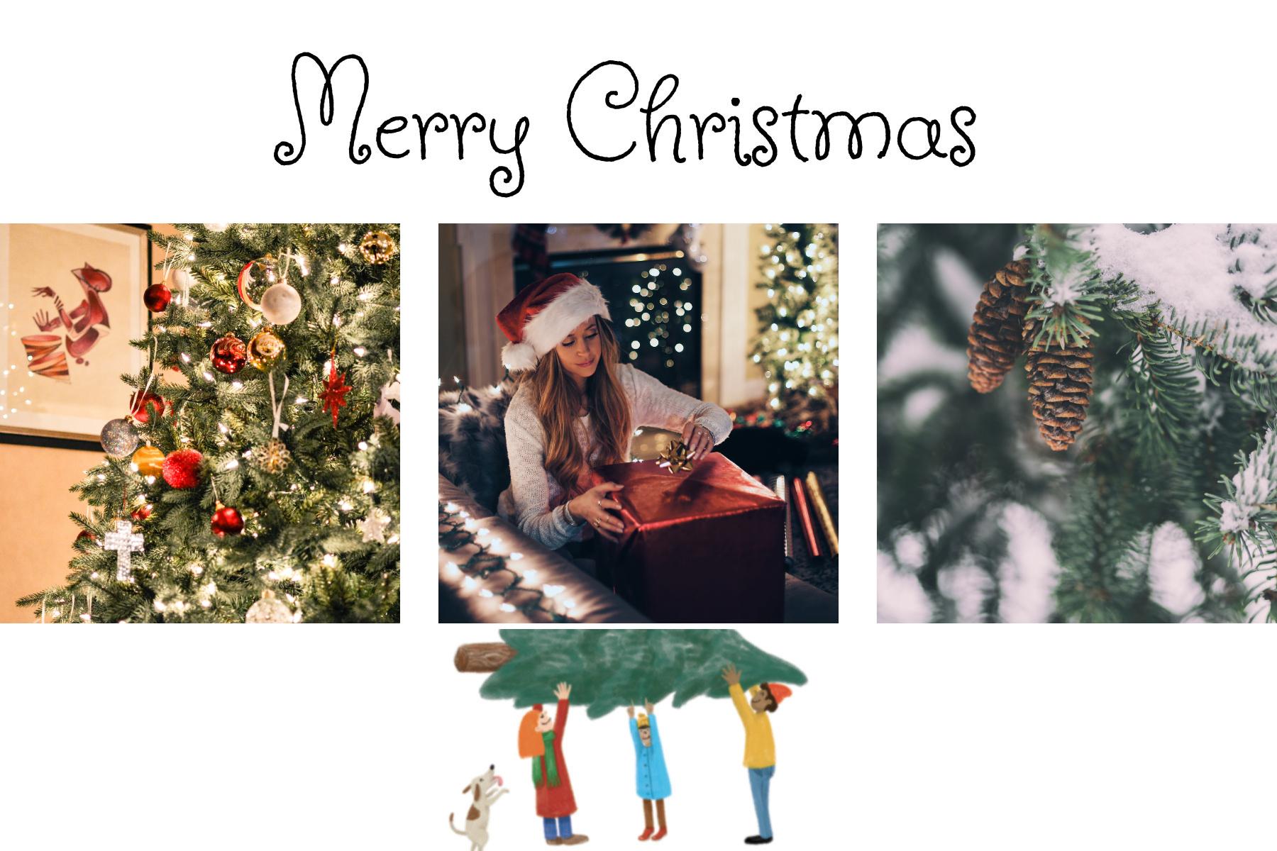 Carte Joyeux Noel avec sapin et famille