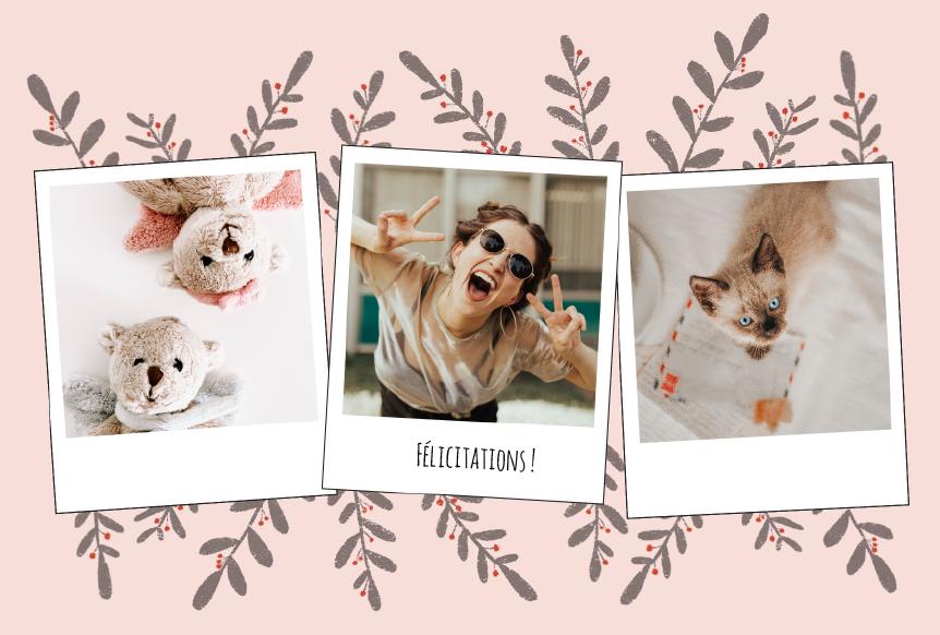 felicitations naissance trois photos sur fond rose