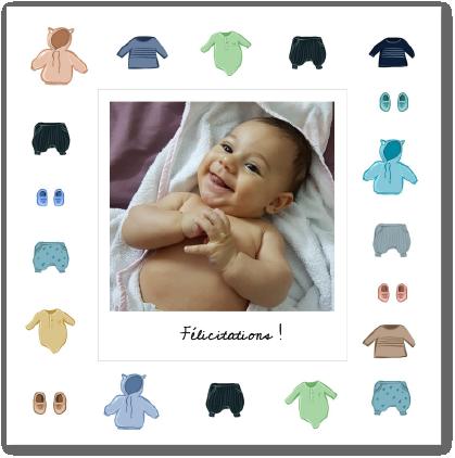Carte vêtements de nouveau-né