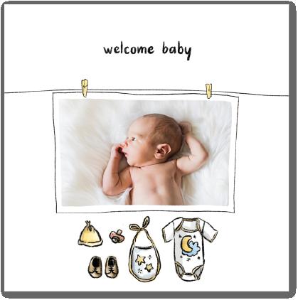 Carte félicitations naissance équipement bébé