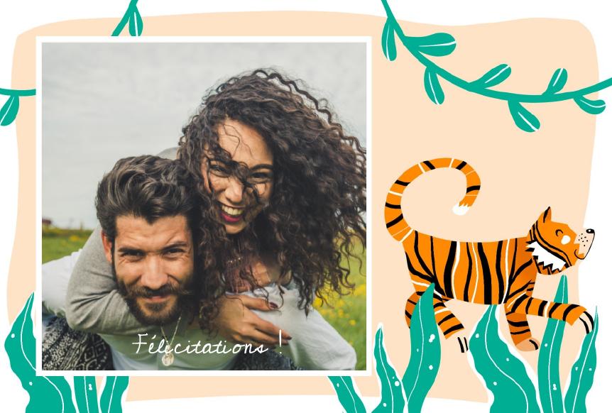 carte postale felicitations avec tigre