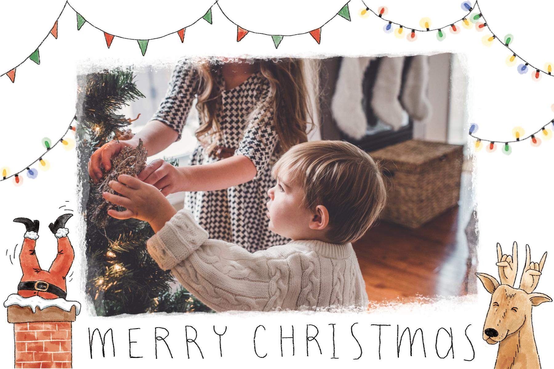 Carte Joyeux Noël avec cheminee et guirlande