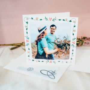 faire-part mariage 1 photo avec ornement fleuri