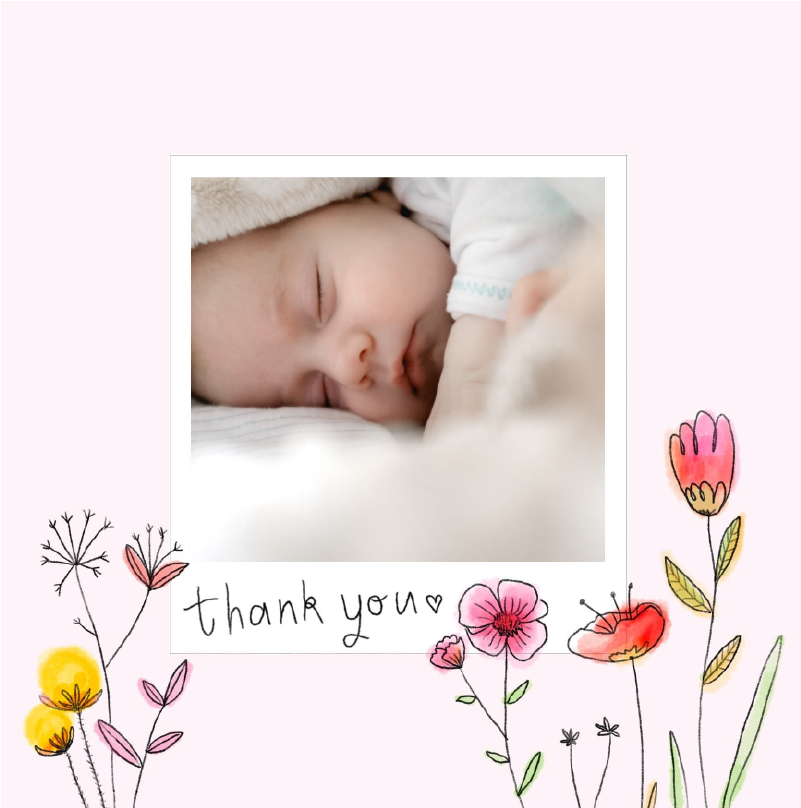 pink thank you cards with wild flowers