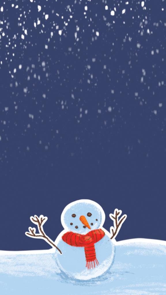 Fond d'ecran Noel avec bonhomme de neige