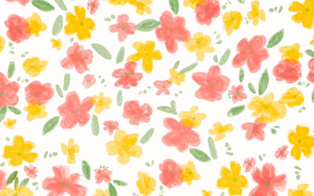 Fond ecran motif fleuri rose et jaune