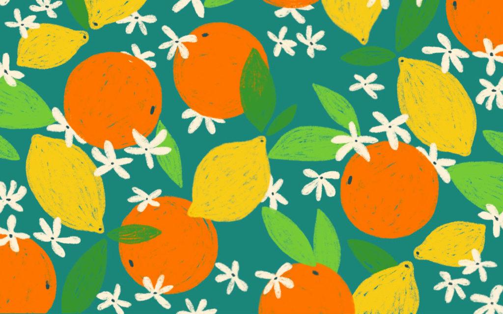 Fond ecran ete avec oranges et citrons