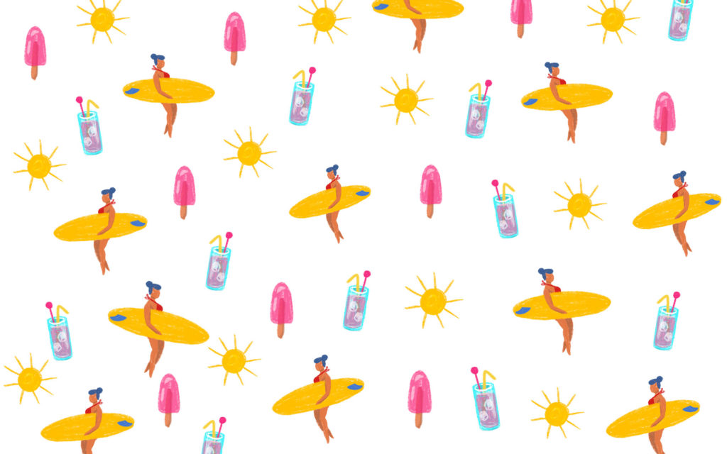 Fond ecran plage avec surfeuses et cocktails