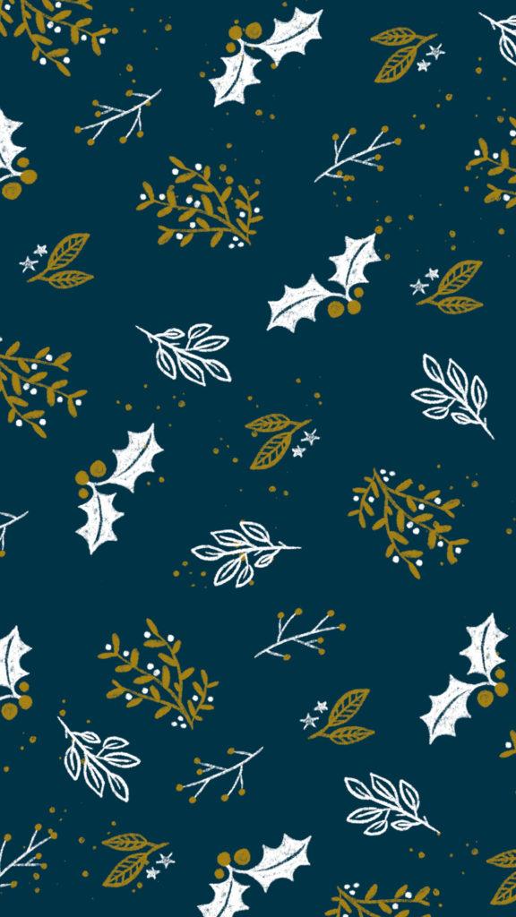 Fond d'ecran de Noel doré sur fond bleu
