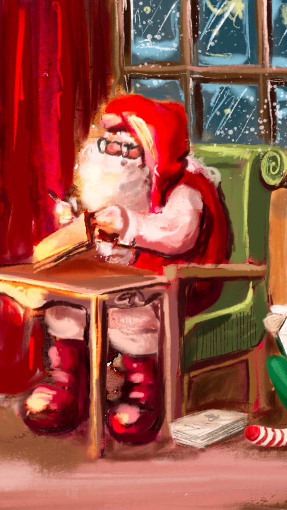 Pere Noel ecrivant une lettre