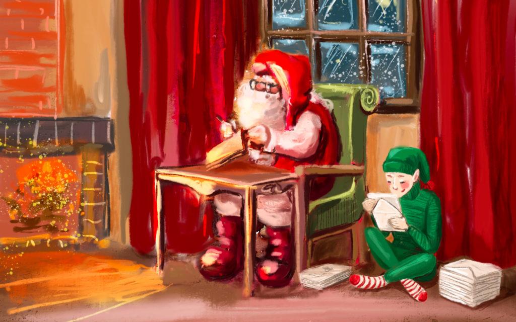 Pere Noel avec son lutin