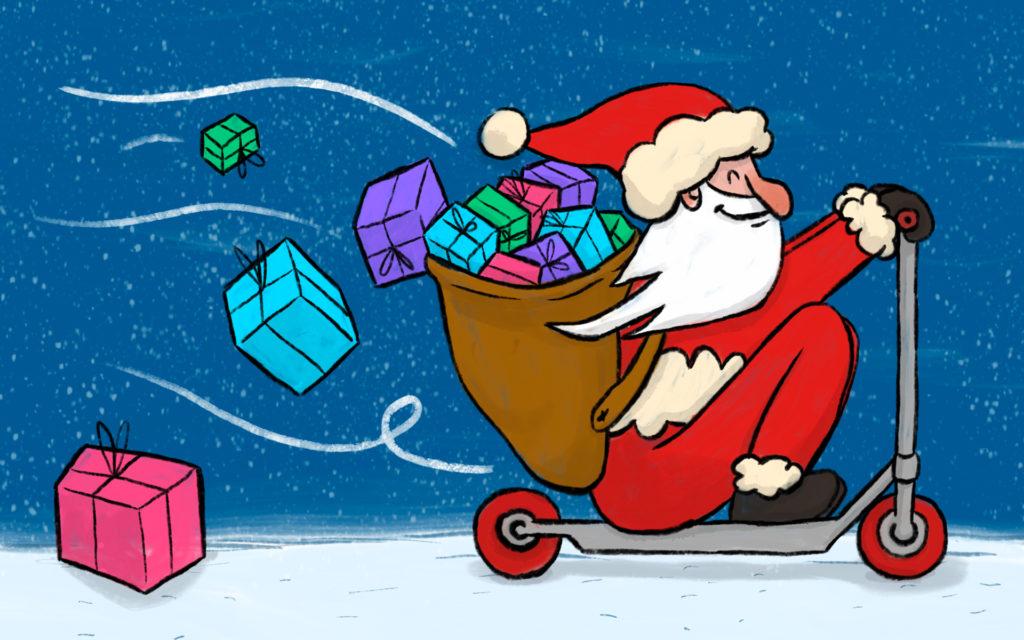 Pere Noel trotinette avec cadeaux