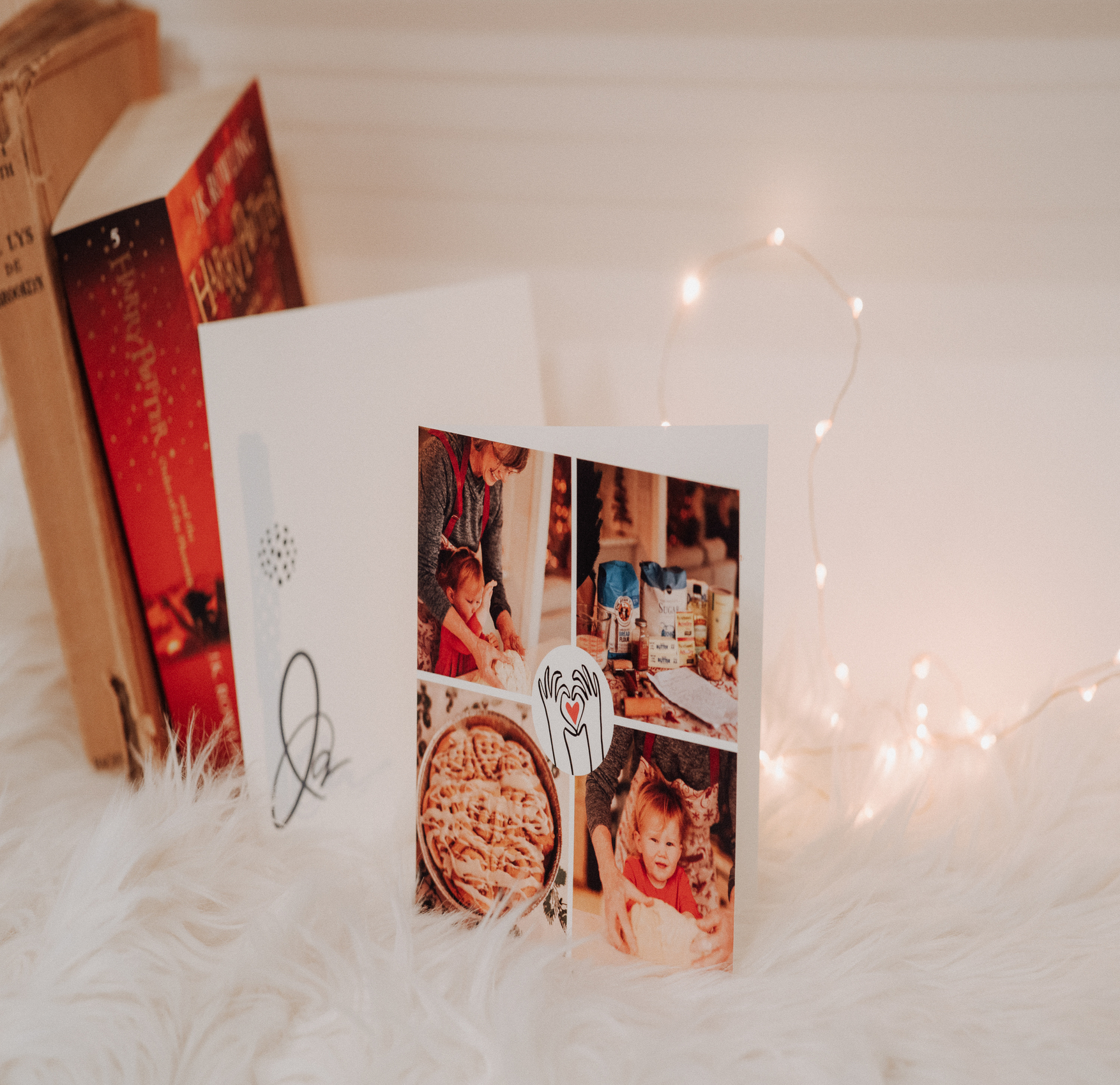 greeting card with four baby photos