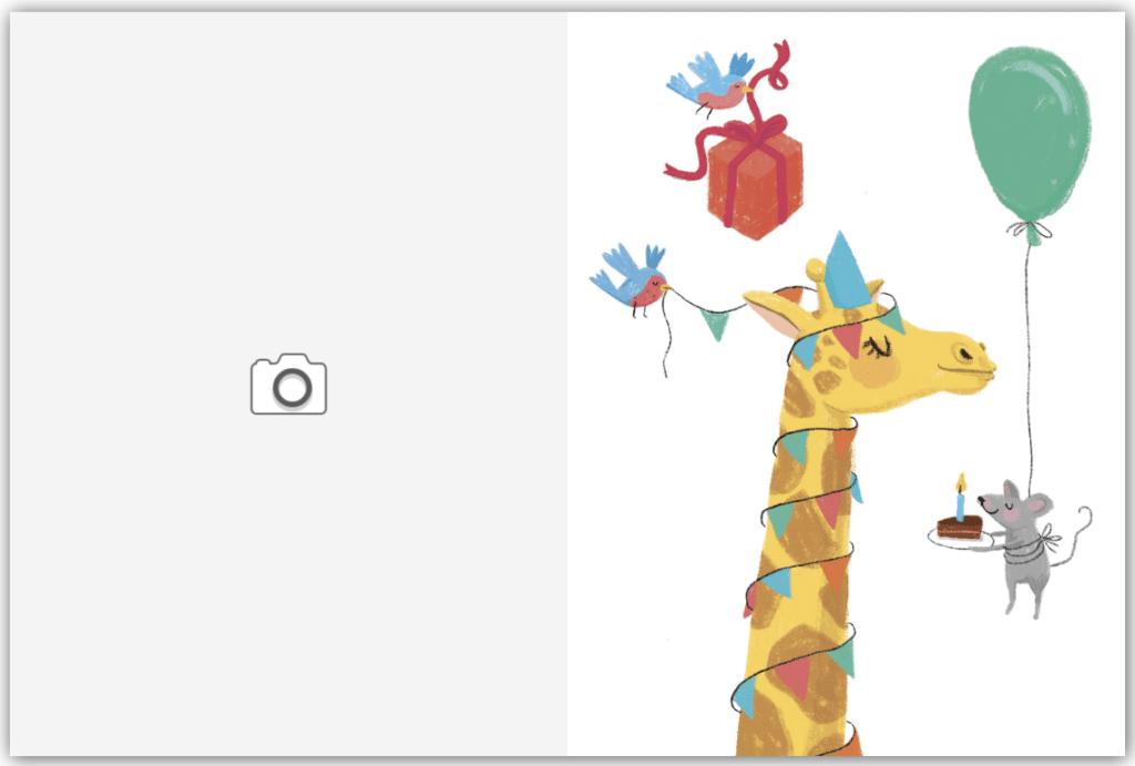 Girafe et cadeau d'anniversaire