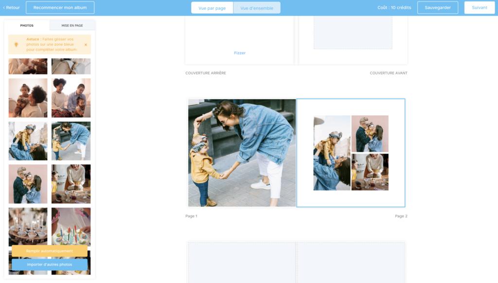 Creez vos mises en page sur votre album photo personnalise