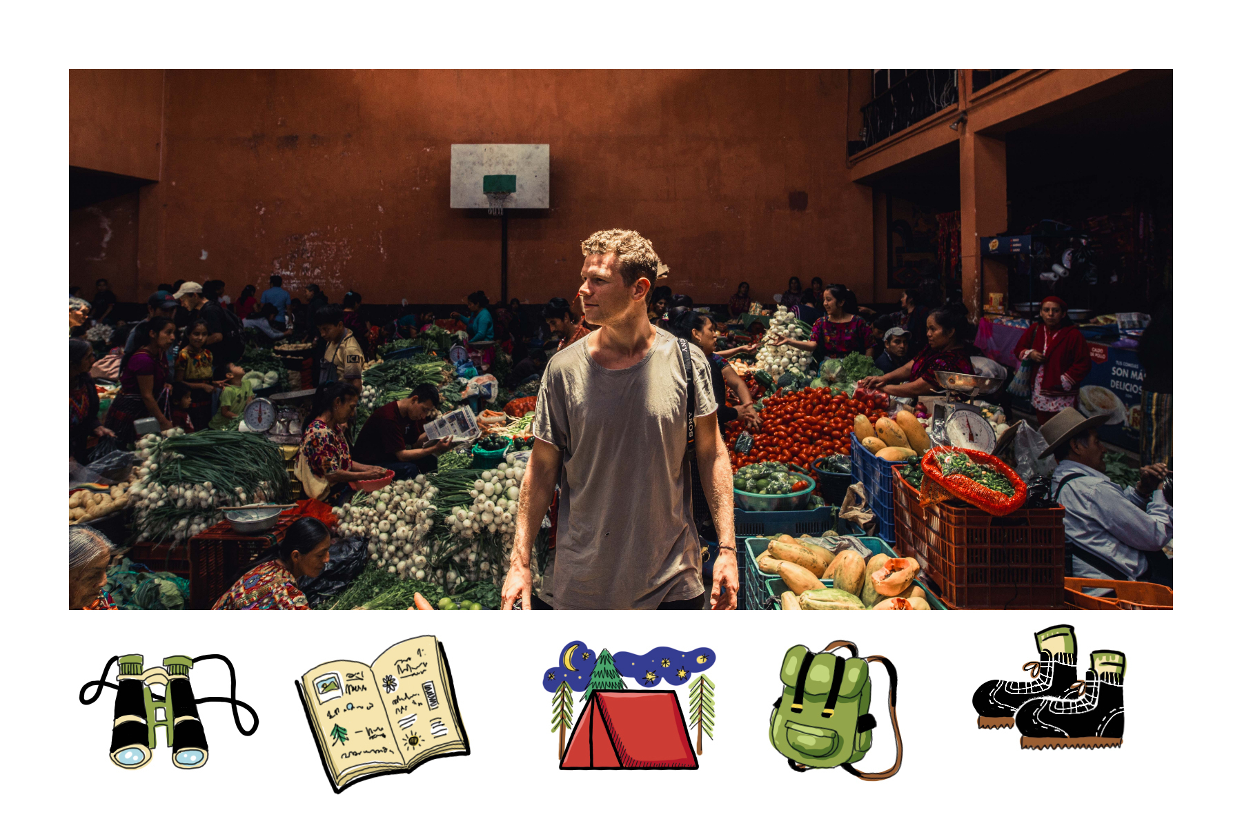 binoculars, book, tent, backpack and camera