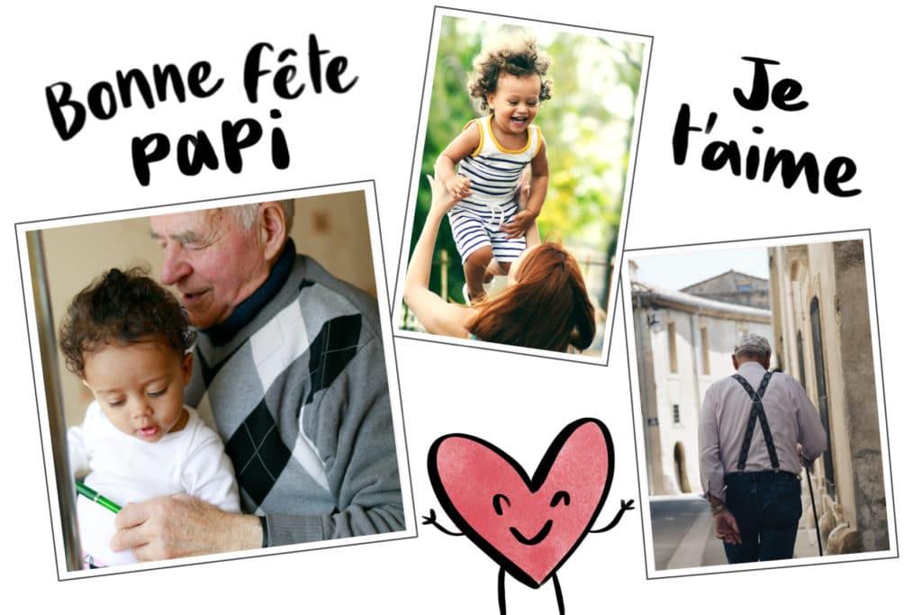 Carte Bonne fête Papi avec un coeur