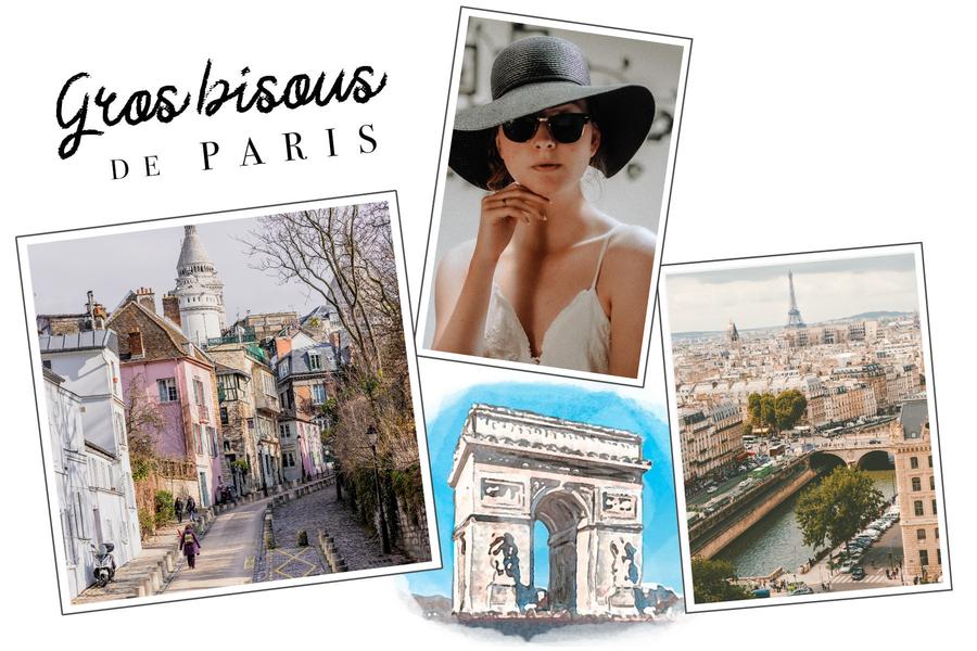 Carte postale Gros bisous de Paris avec Arc de Triomphe