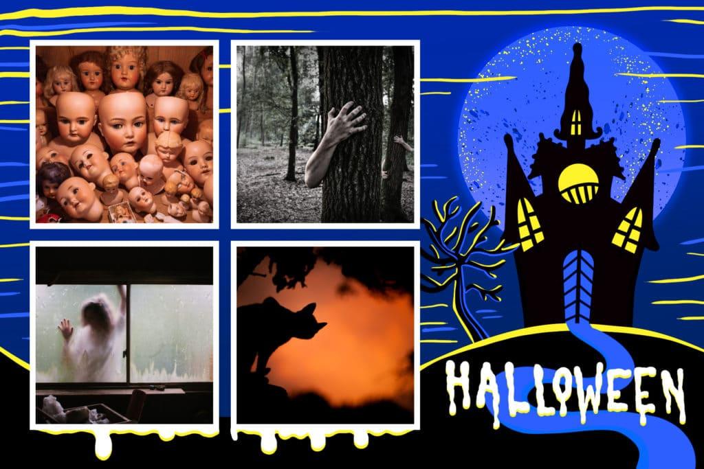 carte halloween maison hantée