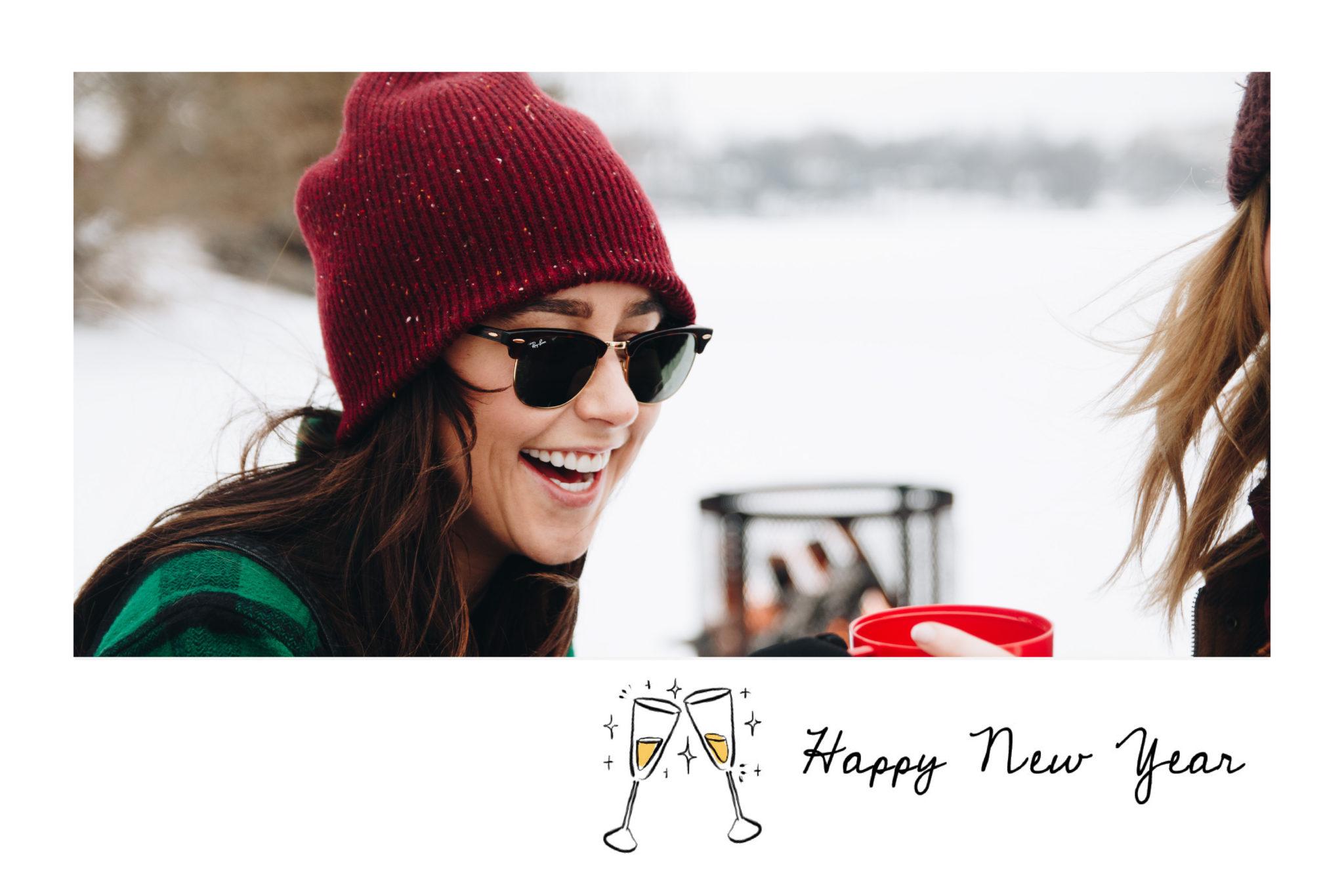 Carte de voeux Bonne annee avec champagne