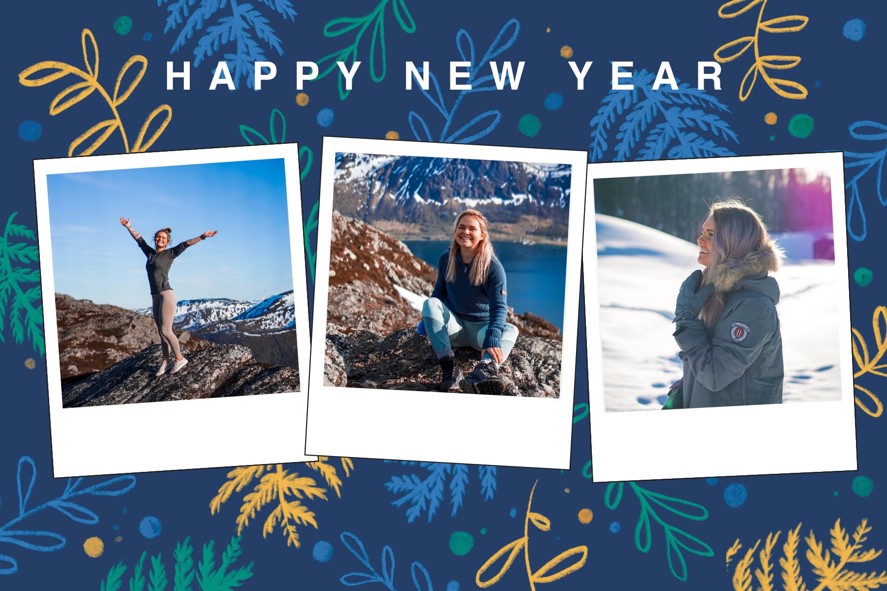 Blue happy new year card