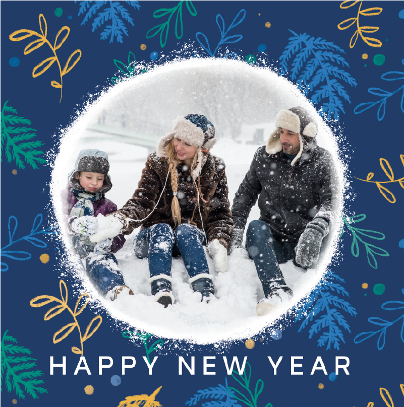happy new year card blue with flowers