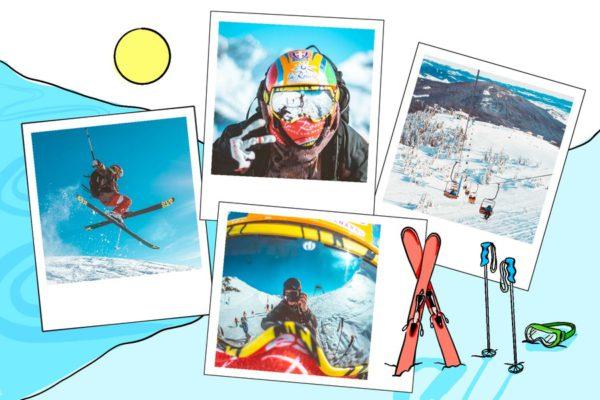 carte ski et baton hors piste au soleil
