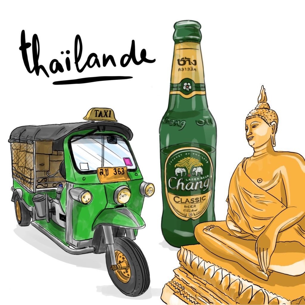 illustration thaïlande carte postale Fizzer par Shirley