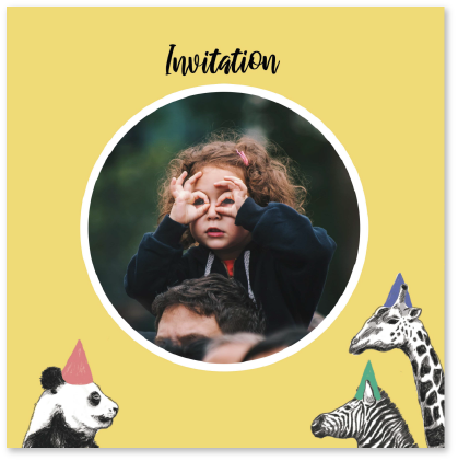 invitation anniversaire enfant avec animaux panda zèbre girafe