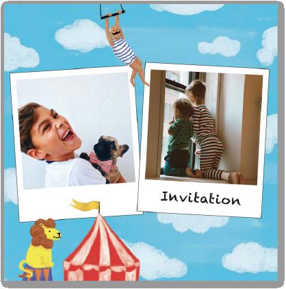 Invitation anniversaire enfant cirque acrobaties