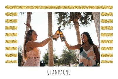 Invitation dorée et blanche avec champagne
