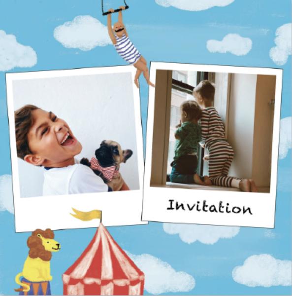 invitation anniversaire enfant avec lion et chapiteau