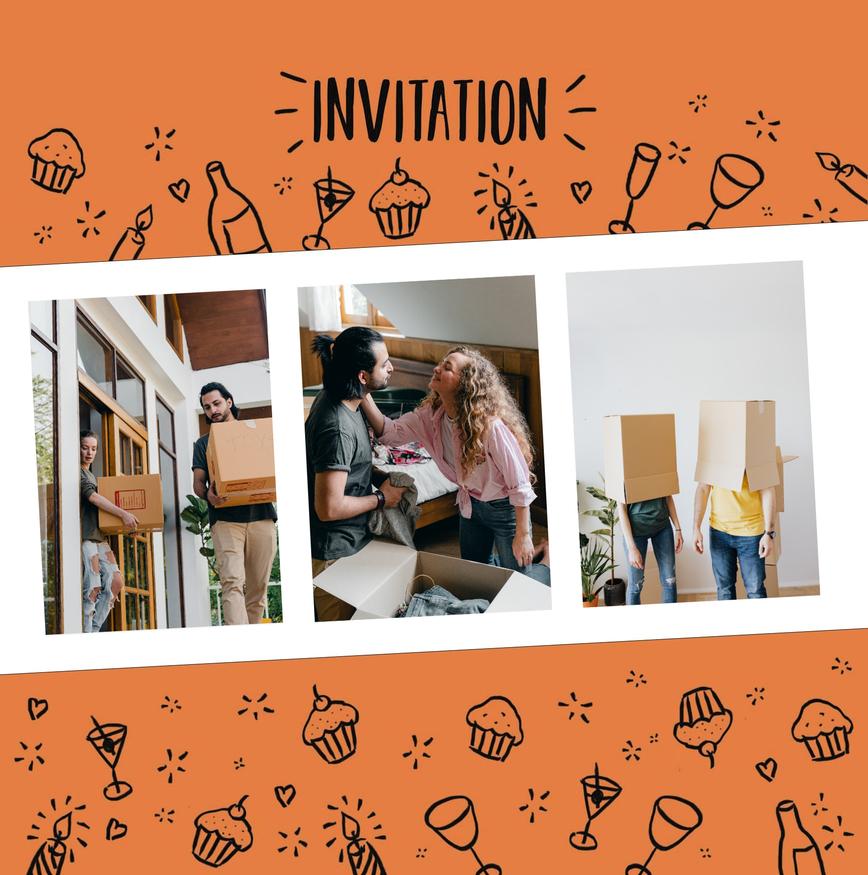 carte d'invitation pendaison de cremaillere orange