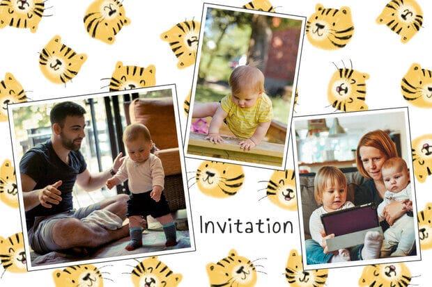 Carte invitation anniversaire tigres pour enfants
