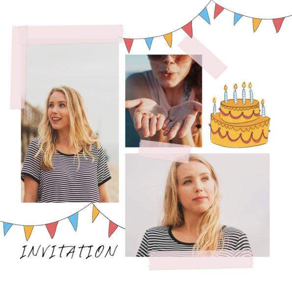 invitation anniversaire pour femme avec fanions multicolores