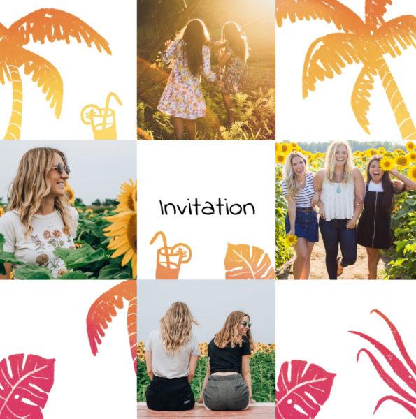 invitation pour femme avec palmiers oranges et roses