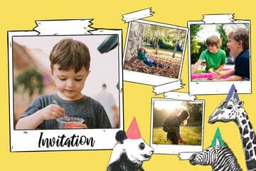 Invitation enfant jaune avec animaux