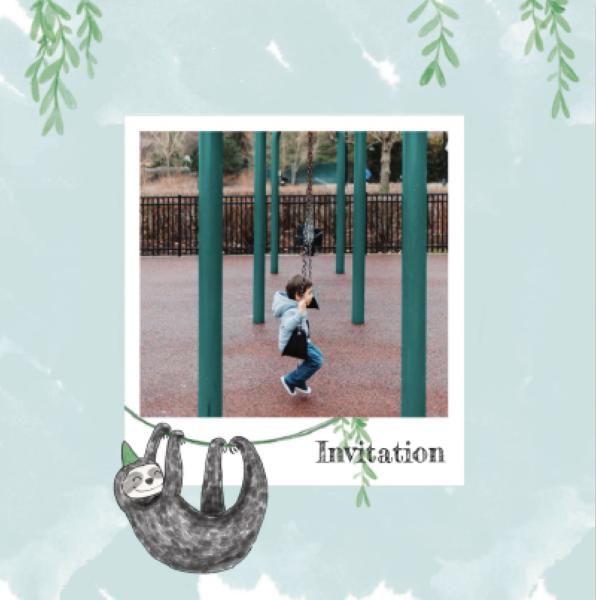 invitation enfant couleur verte avec paresseux