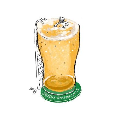 carte anniversaire piscine de biere